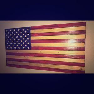 Large USA wooden flag